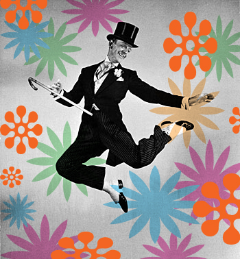 Fred Astaire with swirly colorful shapes dancing around him.